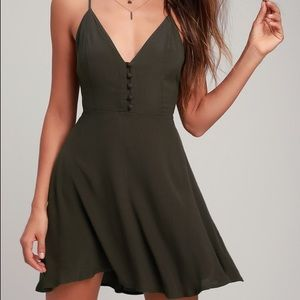 Troupe Olive Green Button Front Skater Dress